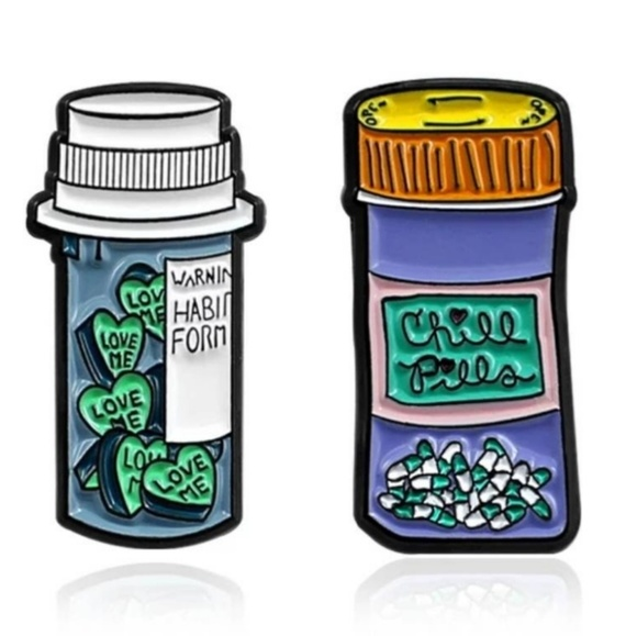 💥3 for $19 Chill Pill love me pill enamel pin Boutique